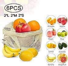 Aalborg125 6Pcs Reusable Produce Fruit Vegetable Bags Cotton Mesh Potato Onion Storage Bags with Drawstring Home Kitchen Organizer Supplies