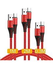 タイプc ケーブル【30cm+1m+2m】CABEPOW USB2.0 usb type c QC3.0急速充電可能&高速データ転送 Sony Xperia XZ/XZ2, Samsung Galaxy S9/S8/A3/A7/A9/C5/7pro/C9, Nexus 5X/6P, GoPro Hero 5/6対応 タイプCコネクタ機種対応 18ヶ月保証付き【30cm+1m+2m 赤】