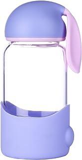 qileyin 340ml pequeña botella de agua de cristal con antideslizante funda de silicona–sin BPA, PVC, plástico y sin plomo–Cute Conejo Forma sb60286