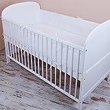 Tour de lit pour bébé avec protection sur les bords et au niveau de la tête, couleur unie, blanc, 420x 30cm, 360x 30cm, 180x 30cm .