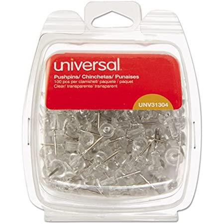 Universal 31304 3/8-Inch Clear Push Pins (100 per Pack)