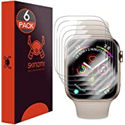 Skinomi TechSkin [6-Pack] (Slim Design) Clear Screen Protector for Apple Watch Series 4 (40mm) Anti-Bubble HD TPU Film