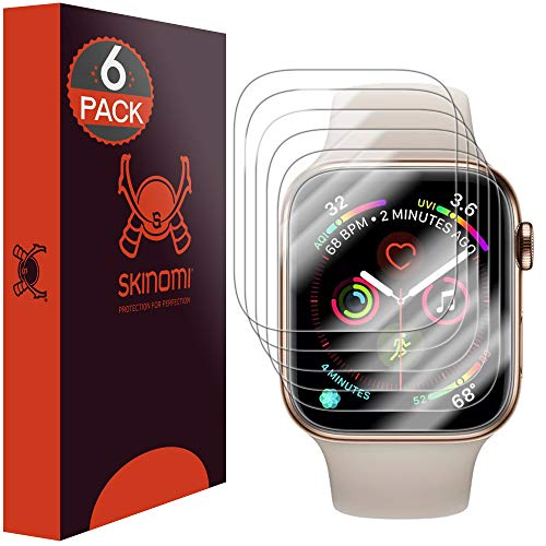 Skinomi TechSkin, Schutzfolie kompatibel mit Apple Watch Series 5 und Apple Watch Series 4- 40 mm. wasserabweisend, 6er Pack