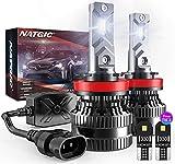 NATGIC H11 Lampadine per Fari a LED con 2PC Lampadine LED T10, 300% Luminosità Kit di Conversione H8 H9 LED CanBus con Driver Intelligente EMC Aggiornato, 12000LM Bianco 6500K(Totale 4 Lampadine LED)