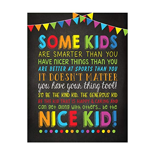 Andaz Press Classroom Teacher Wall Art Decor Poster Signs, 8.5x11-inch, Some Kids Are Smarter Than You, Be the Nice Kid, 1-Pack, Unframed, Kids Inspirational Motivational Quotes