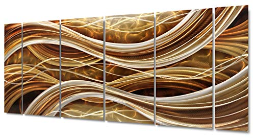 """Yihui Arts Abstract Metal Wall Art, Abstract Green Sculpture Decor 3D Wall Art for Modern and Contemporary Decor, 5-Panels 24""""x 64"""" for Indoor and Outdoor Spaces (24Wx64L)"""