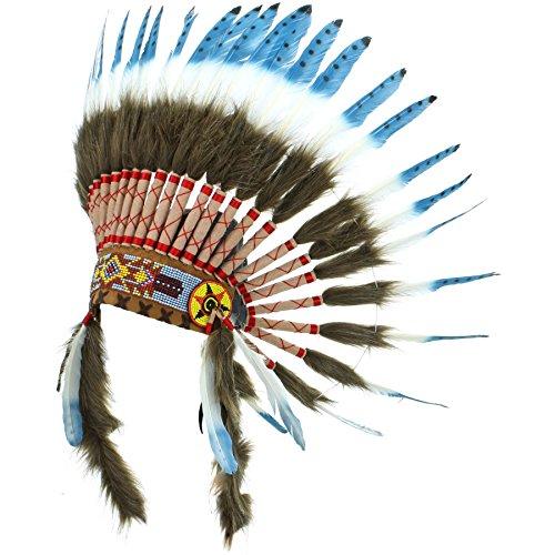 Gringo Indianerhäuptling-Kopfschmuck Gr. Einheitsgröße, Blue with black spots