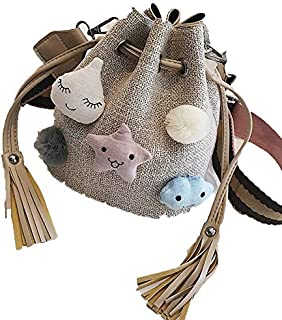 Whiteswanau Summer Fall New Cute Star Hair Ball Women's Single Shoulder Drawstring Knitted Water Drum Holiday Beach Bag