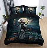 Felu Bedding Duvet Cover Set of Kids, The Nightmare Before Christmas Pattern Comforter Cover Set with 1 Duvet Cover and 1 Pillowcases (Twin Size)