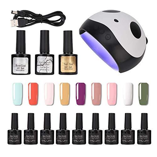 Kit de Esmalte de uñas con Gel UV con secador de uñas LED UV de 36 W, Secado rápido, Herramientas de manicura, Base de Esmalte de Gel y Capa Superior, para Uso en el hogar y el salón(Tipo 03)