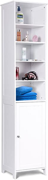 Tangkula 72 Inches Tall Cabinet Bathroom Free Standing Tower Cabinet With Adjustable Shelves Cupboard With Door Space Saving Cabinet Organizer Home Storage Furniture White