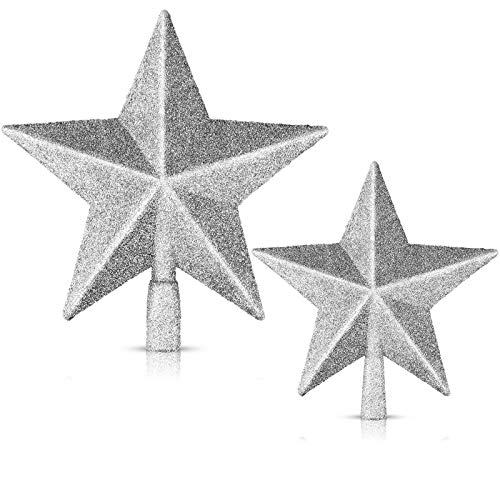 MENOLY 2 Pack Christmas Silver Tree Stars 8 & 6 Inches Christmas Tree Topper Silver Glittered Christmas Tree Decoration for Party Home Decoration Star Ornament
