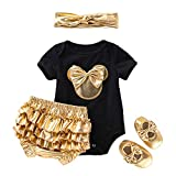 Newborn Baby Girls Toddle Jumpsuit Infant Solid Short Sleeve 4 Piece Set Cute Home Outfits+Headband+Shoes (1-24Month) Black