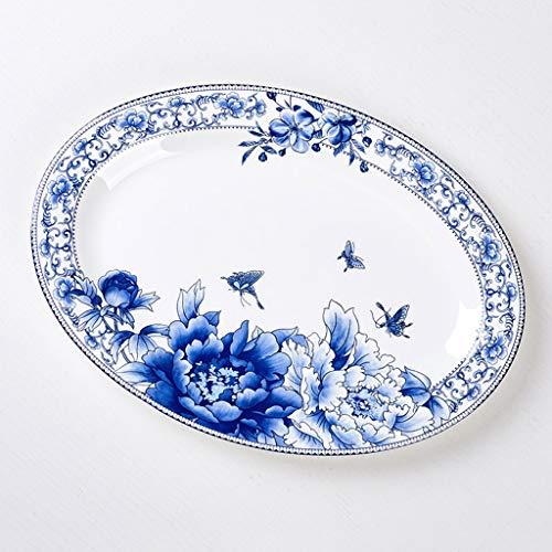 SMC Platos Horno de microondas de Placa de Pescado Grande para cerámica de Jingdezhen Plato de Pescado Oval de Placa de Porcelana de 12 Pulgadas