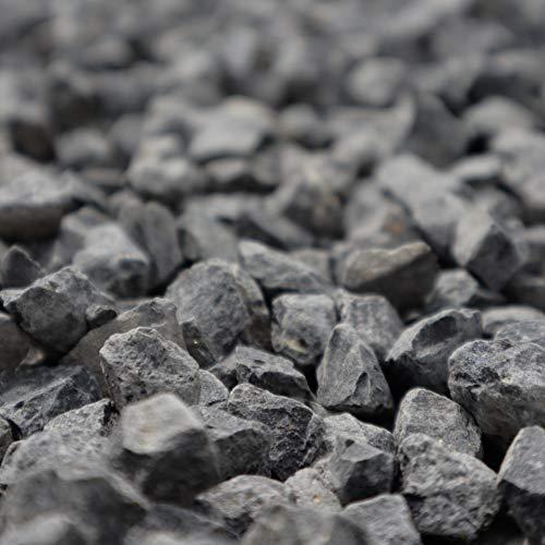 Holtaz Garten-Ziersteine, Kies für Garten Deko, Dekoration Steine für Gartentöpfe Blumentopf Kieselsteine Edelsplitt Dunkler Granit (oder: Grauer Granitsplitt) 8-16mm 25kg