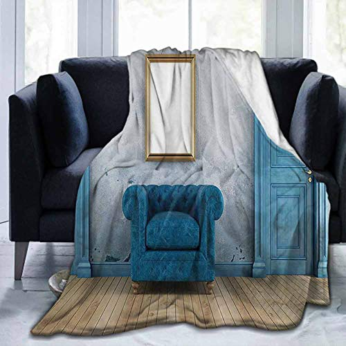 Flannel Super Soft Bed Blanket Throw Blankets Blue Antique,Empty Room with Two Doors Armchair and Simple Mirror with Golden Color Frame,Turquoise Blue Ivory,60