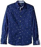Nautica Men's Classic Fit Stretch Oxford Print Long SLV Button Down Shirt, j Navy, Small