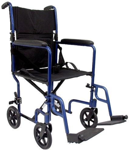 "Karman Healthcare LT-2019-BK Folding Aluminum Transport Chair with Removable Footrests, Black, 19"" Seat Width"