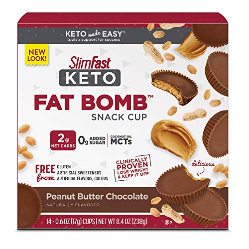 SlimFast Keto Fat Bomb Snack Cup, Peanut Butter Chocolate, Keto Snacks for Weight Loss, Low Carb with 0g Added Sugar, 14 Count Box