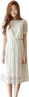 (ミズミス) Ms.Miss レディース ワンピース 白 ドレス 花柄 透け感 ウェディング 結婚式 二次会 ひざ丈 スカート