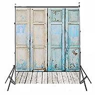 3x5ft Newest Blue Four Wood Doors & Wood Floor Vinyl Wedding Backdrop Background