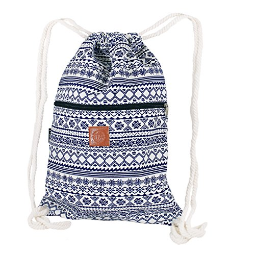 T-BAGS Thailand Baumwoll Turnbeutel Hipster - mit Reißverschluss - 24 Designs – Hochwertiger Beutel, Rucksack, Gym-Bag mit verstellbaren Kordeln (Nordic Blau)