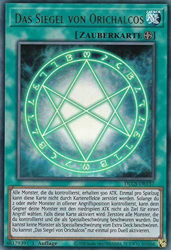 DLCS-DE137 - The Seal of Orichalcos - Ultra Rare - Yugioh - German - 1st Edition in Set with Ultra Pro Toploader and Ultra Pro Protective Case (Clear)