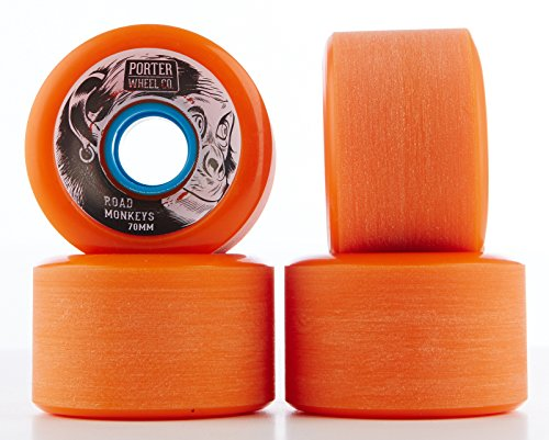 NICE Longboard hardg oods Street accessori Porter Road Monkey Wheel, Unisex, Porter Road Monkey Wheel 70*45mm 80a, arancione