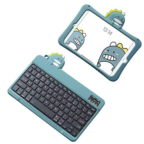 HaoHZ IPad 10.2 8th/7th Generation 2020 Kids Case with Keyboard - Cute Dinosaur Shockproof Silicone Protective Cover, 7 Color Backlit Bluetooth Keyboard,Case with Black Keyboard