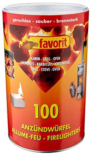 Favorit Anzündwürfel weiß, 100 Stück – Anzünder für Kamin, Grill und Ofen, in Vorratsdose – 1215