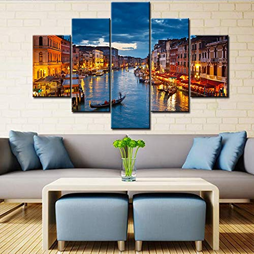 "Large 5 Piece Canvas Prints Wall Art for Living Roon- Beautiful Landscape/Grand Canal at night, Venice, Italy | Modern Wall Decor Stretched Gallery Canvas Wrap Giclee Ready to Hang - 60""W x 40""H"