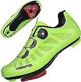 TFNYCT Scarpe da Ciclismo Bicicletta Autostrada MTB Interno per Bici da Strada da Uomo con Tacchetti Ciclismo per Montagna Luminose (Verde), 43 EU