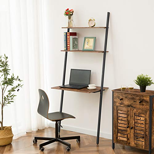 HOOBRO Ladder Computer Desk, Small Home Office Writing Desk with Bookshelf, Industrial Ladder Shelf, Sturdy Metal Frame, Space-Saving Workstation, Easy Assembly, Rustic Brown BF72DN01