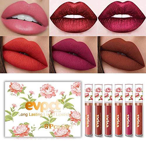 evpct 6Pcs Matte Liquid Lipstick Set,Dark Red Matte Lipstick Lip Stain Long Lasting 24 Waterproof Lip Gloss Gift Set ,Lipstick Sets for Women Lippies Lip Makeup Lipgloss Beauty Kit (Set01)