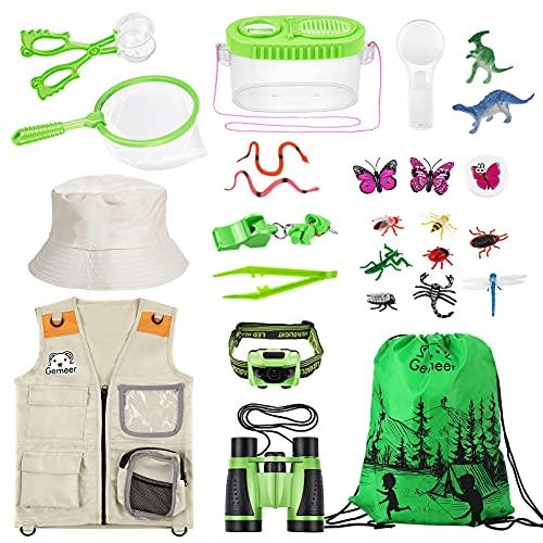 Gemeer Kit de Aventuras al Aire Libre, 26 Kits de Captura de Insectos, Kits de Aventuras al Aire Libre para niños, Kits de Ropa de Aventura, Juegos educativos, Juguetes de Aventura (Verde)