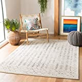 Safavieh Tulum Collection TUL262A Moroccan Boho Distressed Non-Shedding Stain Resistant Living Room Bedroom Area Rug, 5'3' x 7'6', Ivory / Grey