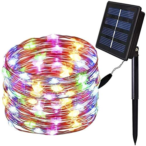 WDWL Solar String Light Fairy Lights 20 Lights-200 Lights, 8 Modes 2M-20M IP65 Waterproof Outdoor String Lights for Garden Patio Yard Christmas Tree Party Wedding Decor (Colorful)