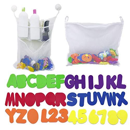2 x mesh babybad speelgoed opslag + 6 ultrasterke haken + 36 badschuim letters en cijfers. Schuim Babybadkuip Letters Nummer voor Peuters, Baby, Kinderen. Organizer Net Bag voor babybadspeelgoed, shampoo en zeep