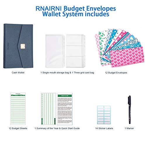 rnairni All-in-One Cash Envelopes Handbag Wallet, Finances Organizer Budget Planner Purse with 12 Budget Envelopes & Budget Sheets(Blue) Photo #5