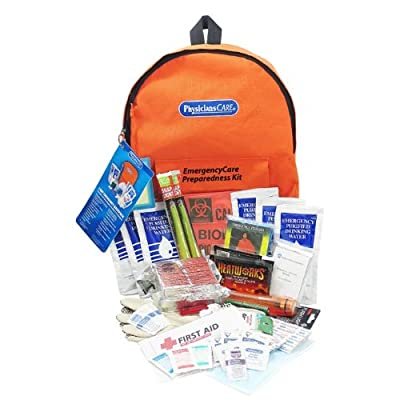 PhysiciansCare by First Aid Only by First Aid Only Emergency Preparedness First Aid Backpack, Contains 63 Pieces from Physicianscare