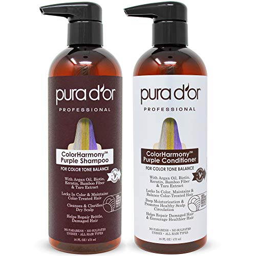 PURA D'OR ColorHarmony Purple Shampoo & Conditioner Biotin Set (16oz x 2) For Bleached, Blonde, Silver & Color Treated Hair - Keratin, Bamboo Fiber, No Sulfates, Natural Ingredients - Men & Women