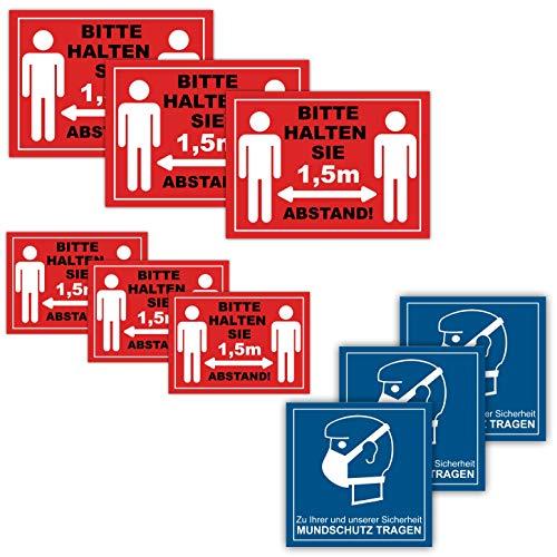 15 Stück GROßES Set Bitte halten Sie Abstand Aufkleber 1,5m Abstand halten Sicherheitsabstand Mundschutz Aufkleber