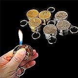 2PCS Golden Silver RMB Dollar Euro Coin Shape Design Butane Lighter Men Gift No Gas radom