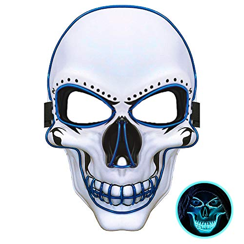 JuguHoovi Maschera LED di Halloween, Maschera Spaventosa incandescente Maschera Teschio della Morte con 3 modalità Flash per Halloween Carnevale Festa di Carnevale Costume Cosplay Decorazione