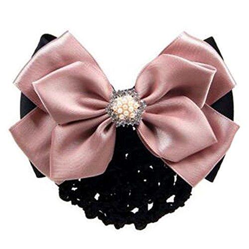 2 pcs bowtie maille cheveux barrette snood élastique coiffure coiffure pour les dames, rose