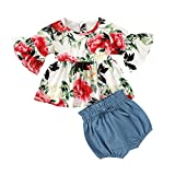 Toddler Kids Baby Girl Clothes Short Sleeve T-Shirt Tops Leopard Print Skirt Set 2Pcs Summer Casual Outfits (5-6T, Red Flower)