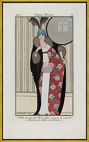 Marco George Barbier Giclee Lienzo Impresión Pintura Póster Reproducción Print(Vestido Crêpe de Chine Adornado con Piel de Zorro Debajo de una Nutria y un Abrigo de Skunk)