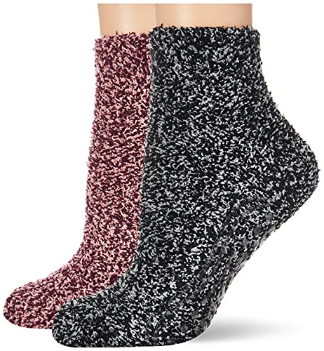Dr. Scholl's Women's 2 Pack Soothing Spa Low Cut Lavender + Vitamin E Socks with Silicone Treads, Peach, Burgundy, Gray, Black, Shoe Size: 4-10