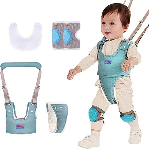Baby Walking Harness, Adjustable Detachable Pulling and Lifting Dual Breathable Stand Up Baby Walker Assistant Protective Belt for Kids Infant Toddlers-Blue