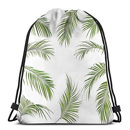 XCNGG Bundle Backpack Outdoor Shopping Knapsack Many Green Palm Leaves Rope-Pulling Bag Sports Bag Suitable for Fitness Shopping and Yoga